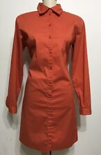 Mexx Women Orange Botton Down Long Sleeve Shirt Dress Size 40