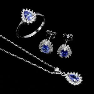 Unheated Pear Tanzanite 6x4mm Cz 14K White Gold Plate 925 Sterling Silver Sets