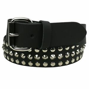 38mm 2 Row Rivet With Conical Studded Handmade Leather Mens Jean Belt B874