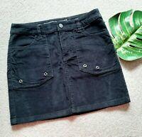 Zadig & Voltaire Jevron Velours Black Cord Mini/Short Skirt Size 36 UK8