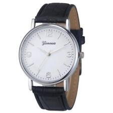 Men's Geneva Faux Crocodile Leather Watch - Black Band - Silver Casing