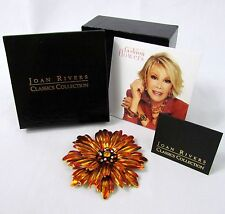 Joan Rivers Fashion Flowers QVC SUNFLOWER Enamel Brooch Pin w Box COA