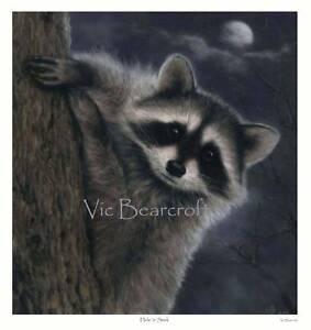 'Hide 'n' Seek'. Limited Edition Raccoon Print.