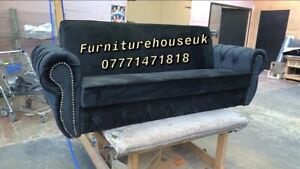 Three Seater Bed Settee Sofa In Black Plush Velvet With Storage
