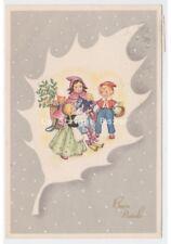 1953 cartolina auguri Natale bambini giocattoli bambola scambio doni agrifoglio