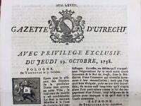 Penicola 1758 Espagne Rochefort Utrecht Anklam Neustadt Suède Danemark Valence