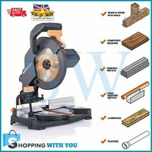 New Evolution Multipurpose Compound Mitre Straight Chop Saw Cuts Wood Metal 230V