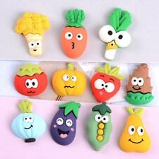 10pc Mixed Resin Cartoon Vegetables Fruits Flatback Buttons Cabochons Decoration