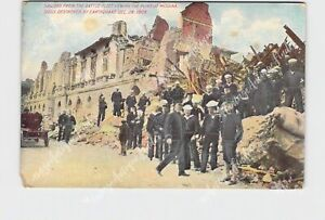 PPC POSTCARD ITALY SICILY SAILORS FROM BATTLE FLEET VIEWING RUINS OF MESSINA 190