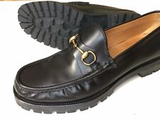 GUCCI Gold Horsebit Black Leather Lug Sole Loafers Size UK 11 G / US 11.5 $650
