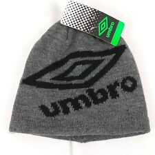 NWT - Umbro Youth Boy's or Girl's Knit Skully Beanie Hat Gray With Black Logo