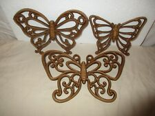 3 Vintage 1978 HomCo Brown Butterfly Plaques