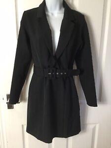 BNWT Miss Selfridge Black Belted Blazer Tuxedo Stretchy Dress UK 8 SOLD OUT