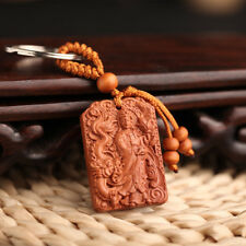 Buddha Kwan Yin Dragon Rose Wood Carved Chinese Pendant Key Chain Keyring Craft
