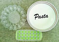 Heavy JC Penney's Vintage Pasta Ceramic Bowl Crystal Glass Deviled Egg Tray Ice!