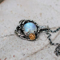 Vintage Silver Flower Rainbow Fire Moonstone Gemstone Necklace Pendant Fashion