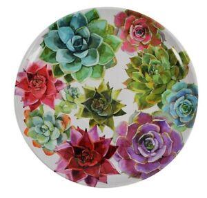 Cactus Succulent Melamine Salad Plates 2Pc BPA Free Desert Green Blue Purple