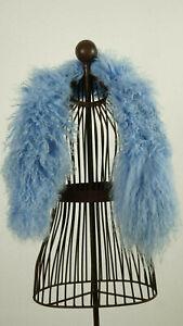 Schal aus echtem Tibetlamm 90cm lang Farbe Hellblau