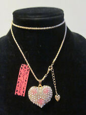 "BETSEY JOHNSON RHINESTONE CRYSTAL BEADS IRIDESCENT HEART NECKLACE 28"" CHAIN"