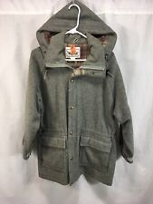 VTG Woolrich Coat Jacket Womens Large Gray Wool Blend Removable Hood USA