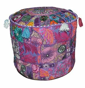 "18"" Bohemian Patchwork Pouf Cover Ottoman Ethnic Decor Indian Pouffe Foot Stool"