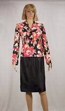 LE SUIT Size 4 Coral Pink Floral Print Jacket Black Straight Shatung Skirt Suit