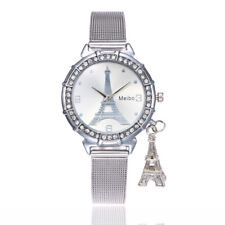 Women Fashion Glass Watch Eiffel Tower Stainless Steel Crystal Quartz Wristwatch