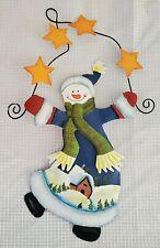 Snowman Metal Door Wall Hanger Christmas Decoration Decor Sign Country Rustic