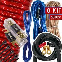 New Audiobank 0 Gauge 6000W Car Amplifier Installation Power Amp Wiring Kit Red