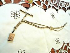 "Chain With Slide & Locket Fob Antique 10"" Gold Filled Pocket Watch"