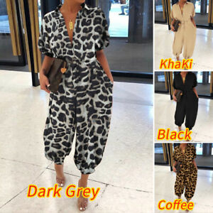 UK Women Summer Leopard Printed V Neck Jumpsuits Playsuits Casual Loose Pants