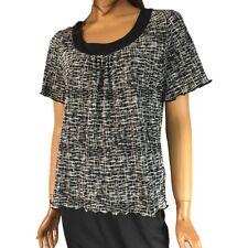 Allison Daley Black White Top Crinkle Women's Blouse Short Sleeve Petite PM