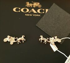 NIB Coach Rose Gold Horse & Carriage Post Earrings $65
