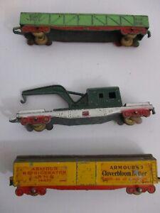 Vintage Lot of 3 Tootsie Toy Train Cars Die Cast Metal Set