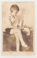 Cute Little Boy Plays with Model Ship Toy Snapshot Kid 1930s Antique Old Photo