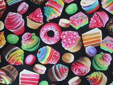 CAKES DONUTS MACAROON CAKE BAKERY ITEMS CUPCAKES SWEETS COTTON FABRIC BTHY