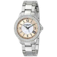 Stuhrling Iris Women's 36mm Silver Steel Bracelet & Case krysterna Watch 887.03