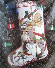 CAROUSEL ANIMALS Christmas Cross Stitch Stocking Kit 50589 Cat Rabbit Horse Rare