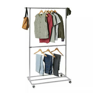 Seville Stainless Steel Garment Rack, Top and Middle Rack w Bottom Storage Area