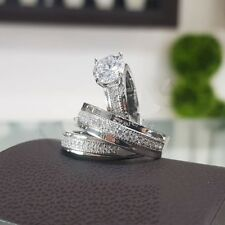 14k White Gold Fn Diamond Trio His Her Bridal Set Engagement Ring Wedding Band