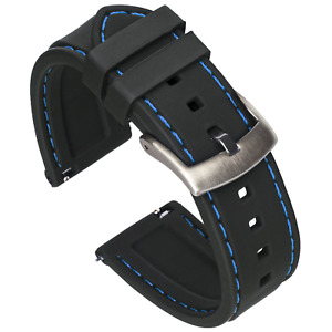 Quick Release Silicone Watch Band - Black / Blue Stitching - 18, 20, 22 or 24mm
