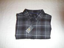 Long Sleeve Button front Soft Men's Flannel Shirts APT.9 size LG Black Grey Plai