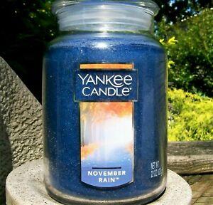 "Yankee Candle ""NOVEMBER RAIN""  Fresh ~ Large 22 oz. ~ WHITE LABEL ~  RARE ~ NEW"