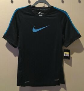 NIKE Graphic Flash Black Neo Turquoise Soccer Authentic Shirt Jersey NEW Mens S
