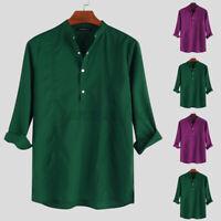 Men's V Neck Henley T Shirt Long Sleeve Tops Formal Dress Party Shirt Tee Blouse