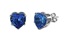 925 Sterling Silver Any Birthstone Color 5x5mm Heart Shape CZ Stud Earrings