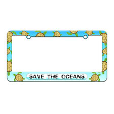 Save the Oceans - Environmental Global Warming License Plate Frame Sea Turtle