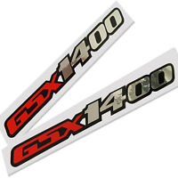GSX 1400 motorcycle decals custom graphics silver chrome & red on black