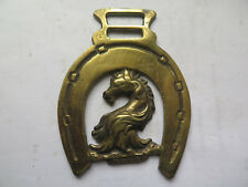 HORSE BRASS in VERY GOOD DETAIL DRAGON HEAD INSIDE HORSESHOE c1930s