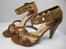 Women's Cole Hann Air Whitney High Heel Beige Leather Sandals D31034 - Size 7.5B